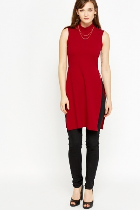 Long Maroon High Neck Top
