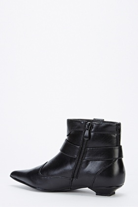 Pointed Toe Buckle Side Ankle Boots
