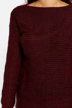 Ribbed Knit High Neck Jumper