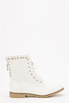 Studded Perforated Biker Boots