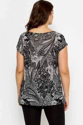 Asymmetric Hem Ornate Top