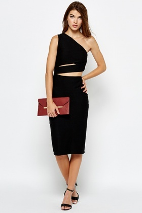 Black One Shoulder Open Waist Dress