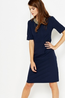 3c439e9acb56f Navy Formal Shift Dress - Just £5