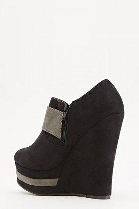 Two Tone Suedette Wedges