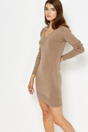 V-Neck Knitted Dress