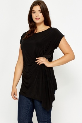 Drape Side Black Top