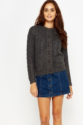 Large Button Knitted Cardigan