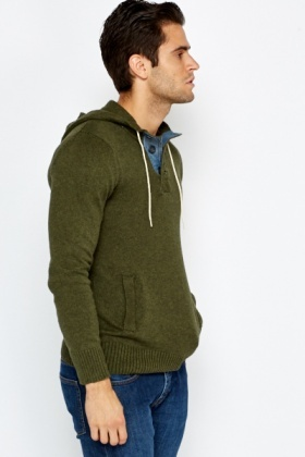 Ribbed Panel Hooded Jumper