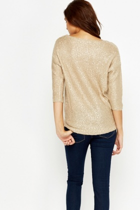 Sequin Embellished Ribbed Jumper