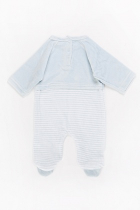 Sky Blue Car Print Baby Grow