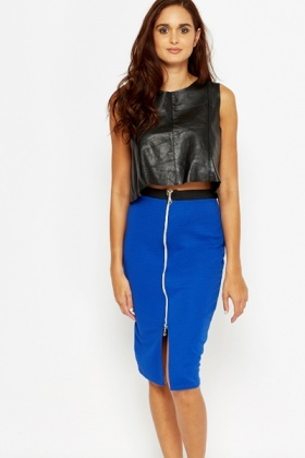 Sleeveless Leather Crop Top