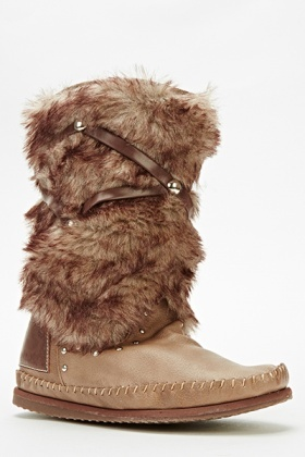 Faux Fur Studded Boots