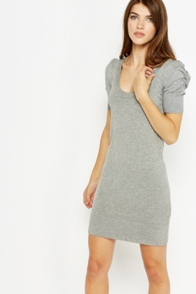 Rushed Shoulder Tunic Dress