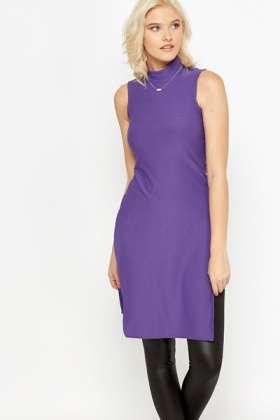 Violet High Neck Slit Hem Top