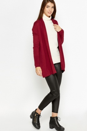 Button Sleeves Open Front Cardigan