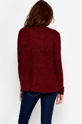 Metallic Blend Knitted Pullover