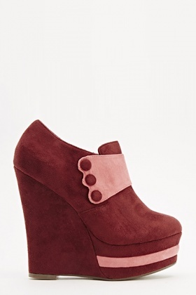 Suedette Button Detail Wedges