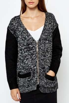 Contrast Knitted Zip Front Cardigan
