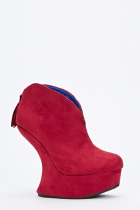 Curve Wedge Suedette Boots