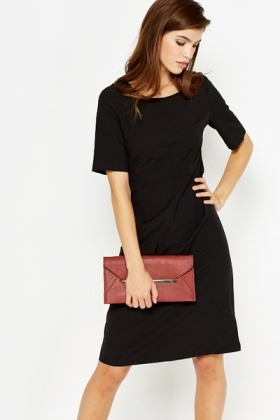 Black Short Sleeve Shift Dress - Just £5