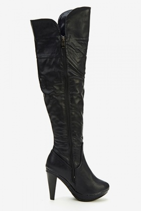 Buckle Side High Knee Boots