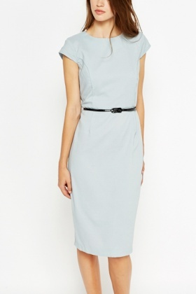 Light Blue Cap Sleeve Pencil Dress