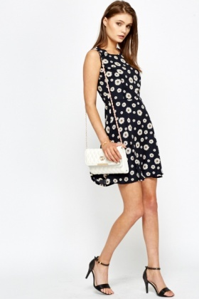 Navy Daisy Print Skater Dress