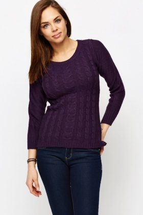Cable Knit Dip Hem Pullover