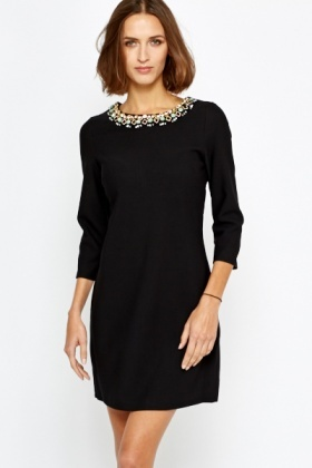 Encrusted Necklace Shift Dress