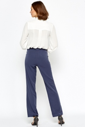 Middle Blue Fitted Trousers