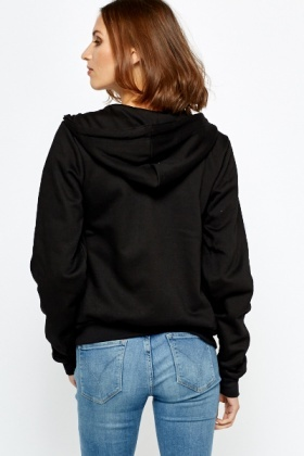 Zip Up Black Hoodie