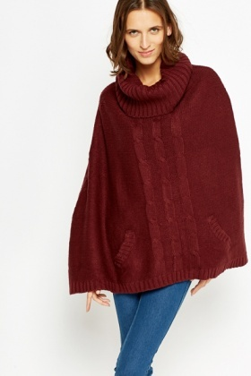 Cowl Neck Pocket Side Ponch