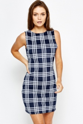 Navy Checked Shift Dress