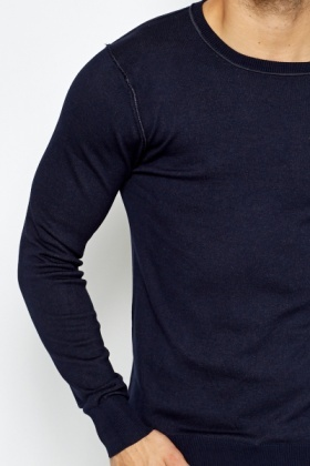 Ribbed Round Neck Sweather