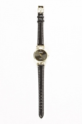 Black Thin Strap Watch