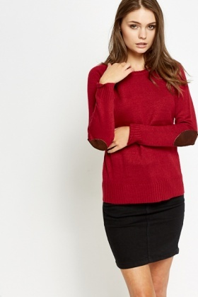 Contrast Elbow Patch Jumper