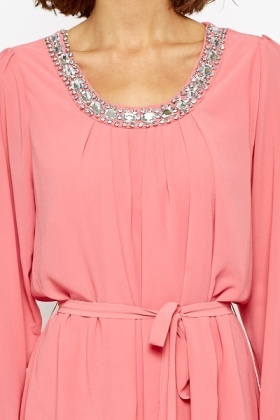 Encrusted Stone Pink Shift Dress