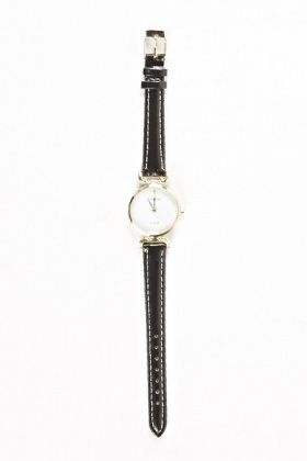 Faux Leather Black Strap Watch