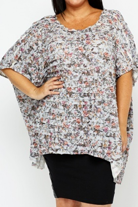 Multi Floral Ruffle Batwing Top