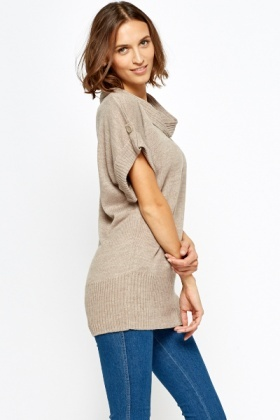 Beige Cowl Neck Jumper