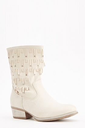 Laser Cut Studded Boots