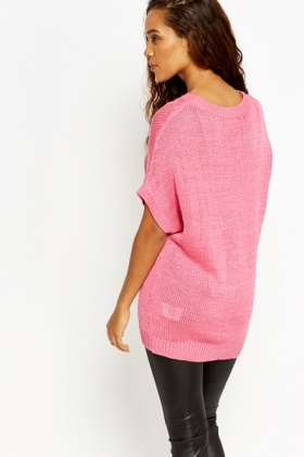 Batwing Short Sleeve Knit Top