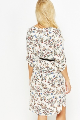 Floral Belted Shirt Dress
