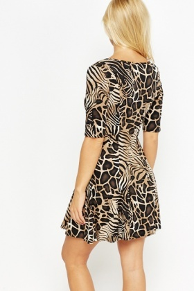 Mix Animal Print Swing Dress
