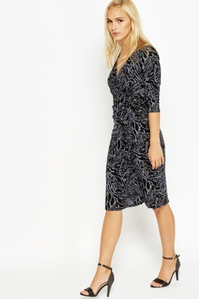 Mix Print Wrap Dress