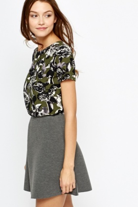 Forest Green Floral Blouse