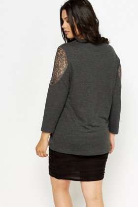 Lace Insert Dark Grey Top