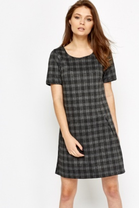 Charcoal A-Line Check Dress