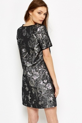 Rose Print Metallic Blend Shift Dress