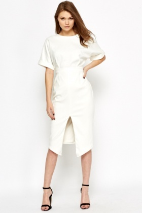 Slit Front High Waist Dress